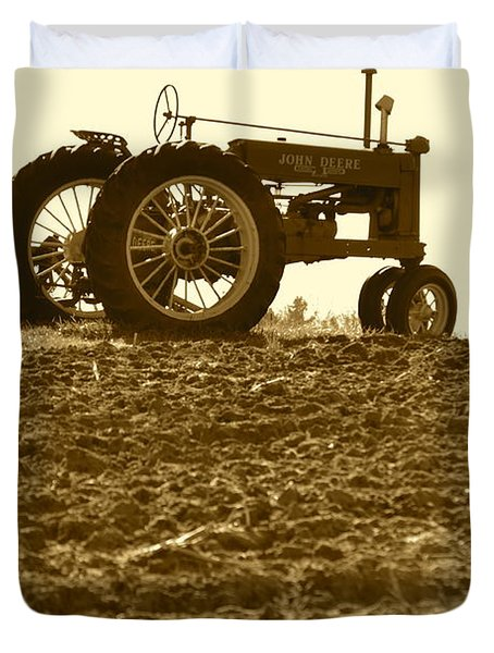 Old Tractor I In Sepia Duvet Cover
