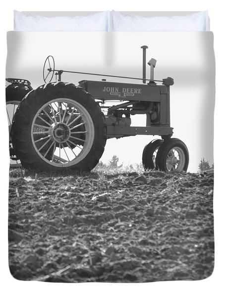 Old Tractor II In Black-and-white Duvet Cover