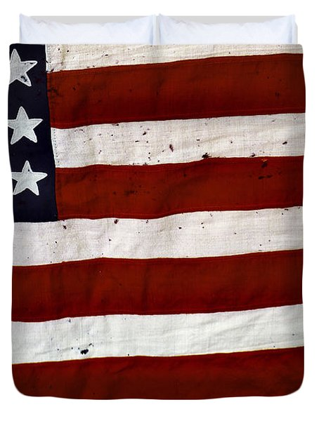 Old Usa Flag Duvet Cover by Carlos Caetano