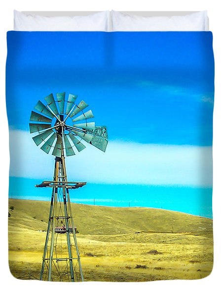 Duvet Cover featuring the photograph Old Windmill by Shannon Harrington
