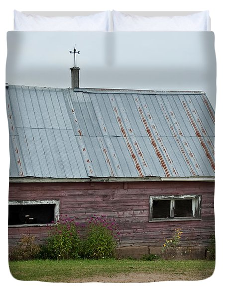 Duvet Cover featuring the photograph Old Wood Shed  by Barbara McMahon