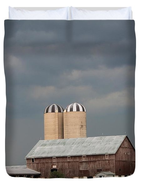 Ominous Clouds Over The Barn Duvet Cover by J McCombie