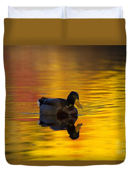 On Golden Waters Duvet Cover by Mike  Dawson