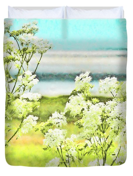Duvet Cover featuring the digital art On The Mudflats Of Pegwell Bay by Steve Taylor