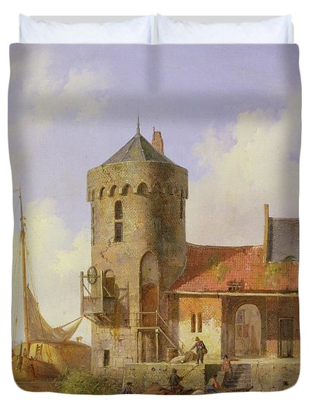 On The Rhine Duvet Cover by Cornelius Springer