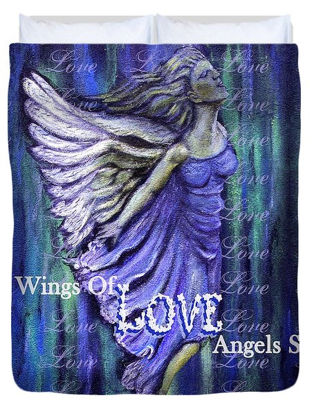 On Wings Of Love Angels Sing Duvet Cover by The Art With A Heart By Charlotte Phillips