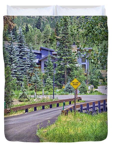 One Lane Bridge - Vail Duvet Cover by Madeline Ellis