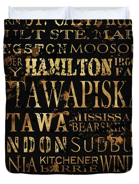 Ontario Typography Duvet Cover by Tanya Harrison