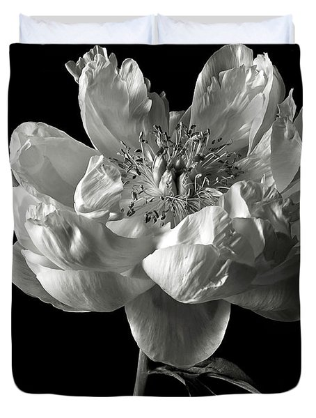 Open Peony In Black And White Duvet Cover
