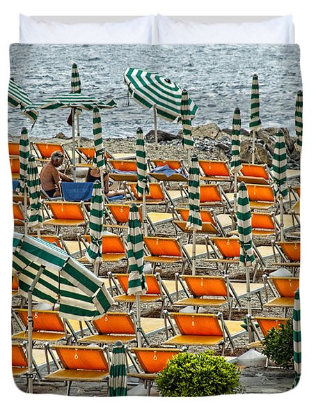 Orange Beach Chairs  Duvet Cover by Mauro Celotti