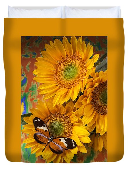 Orange Black Butterfly And Sunflowers Duvet Cover by Garry Gay
