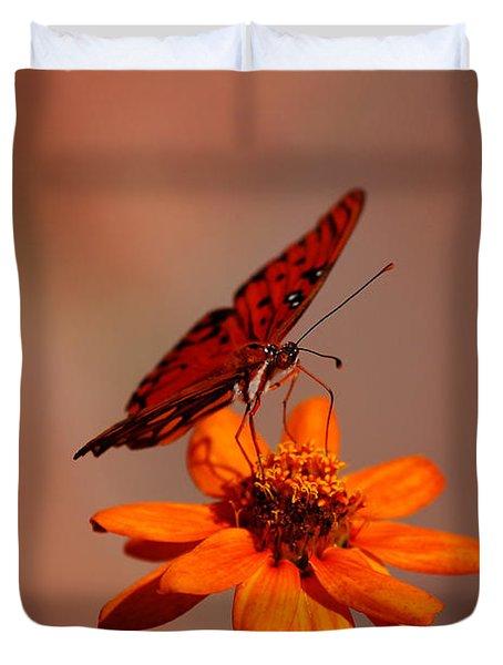 Orange Butterfly Orange Flower Duvet Cover