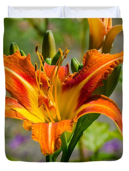 Duvet Cover featuring the photograph Orange Day Lily by Tikvah's Hope