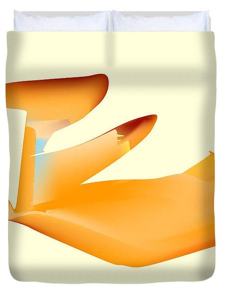 Orange Jetpack Penguin Duvet Cover