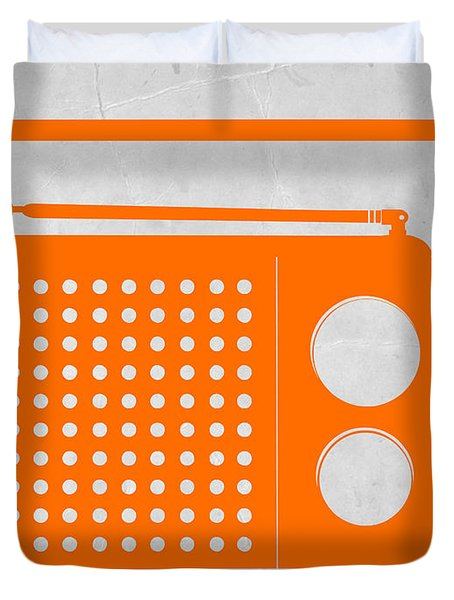 Orange Transistor Radio Duvet Cover by Naxart Studio