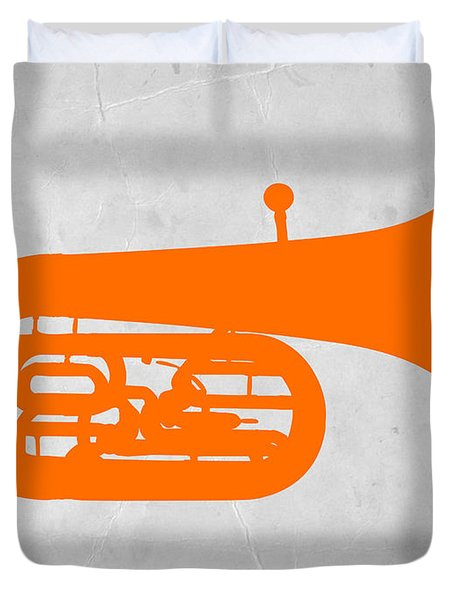 Orange Tuba Duvet Cover by Naxart Studio