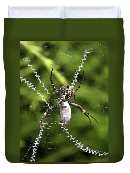 Duvet Cover featuring the photograph Orb Weaver by Joy Watson