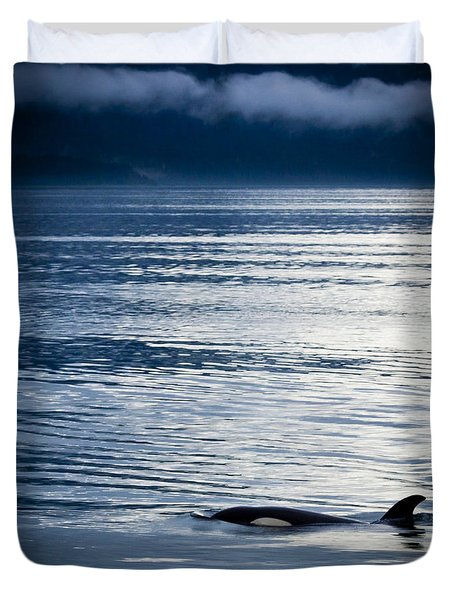 Orca Surfacing Duvet Cover by Darcy Michaelchuk