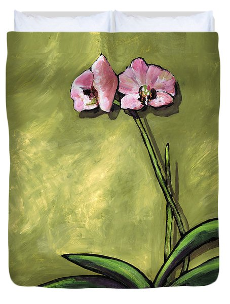 Orchid On Olive Duvet Cover