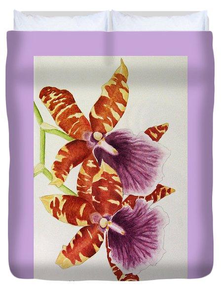 Orchids - Tiger Stripes  Duvet Cover by Kerri Ligatich