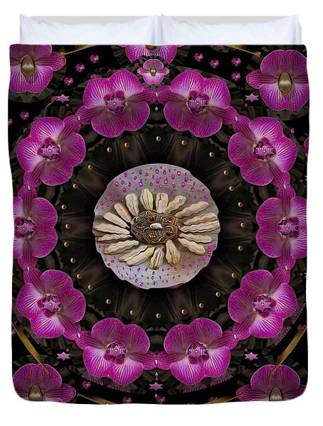 Orchids And Fantasy Flowers Duvet Cover by Pepita Selles