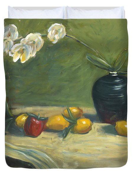 Duvet Cover featuring the painting Orchids And Vase by Marlyn Boyd