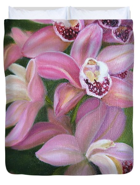 Duvet Cover featuring the painting Orchids by Marlyn Boyd