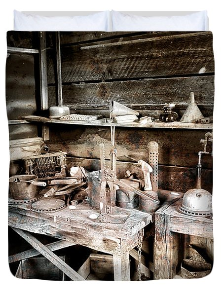 Ore Assay Shop Work Bench - Molson Ghost Town Duvet Cover by Daniel Hagerman