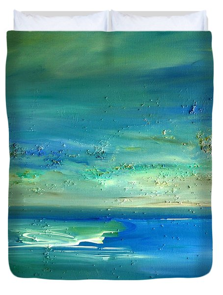 Duvet Cover featuring the painting Organic Seascape by Dolores  Deal