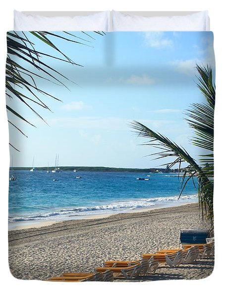 Duvet Cover featuring the photograph Orient Beach St Maarten by Catie Canetti