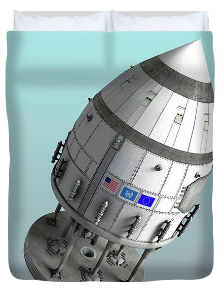 Orion-drive Spacecraft In Standard Duvet Cover by Rhys Taylor