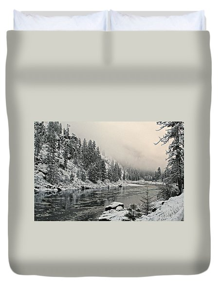 Orofino Snow Clearwater River Duvet Cover