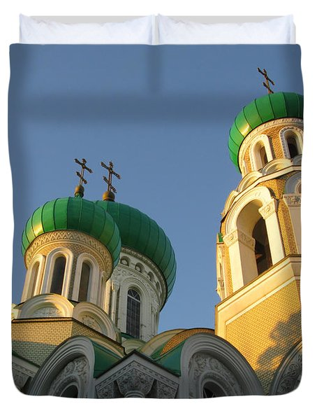 Orthodox Church Of Sts Michael And Constantine- Vilnius Lithuania Duvet Cover by Ausra Huntington nee Paulauskaite