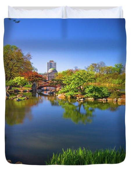 Osaka Garden Pond Duvet Cover