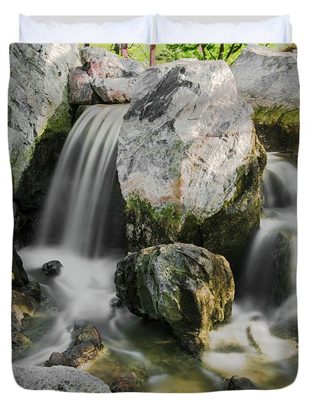 Osaka Garden Waterfall Duvet Cover