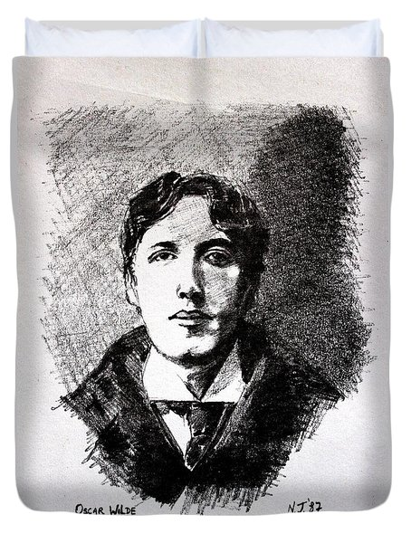 Oscar Wilde Duvet Cover by John  Nolan