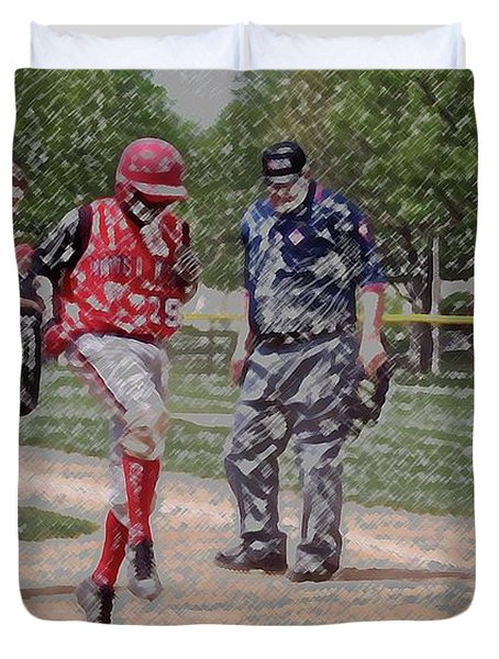 Ouch Baseball Foul Ball Digital Art Duvet Cover by Thomas Woolworth