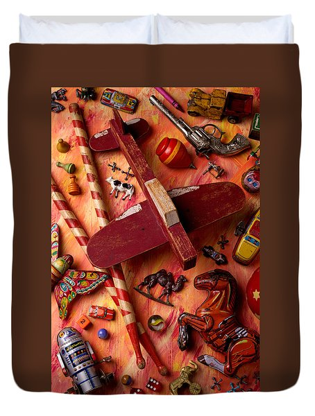 Our Old Toys Duvet Cover by Garry Gay