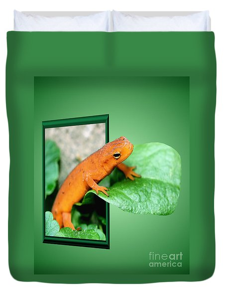 Out Of Bounds Orange Salamander Duvet Cover by Smilin Eyes  Treasures