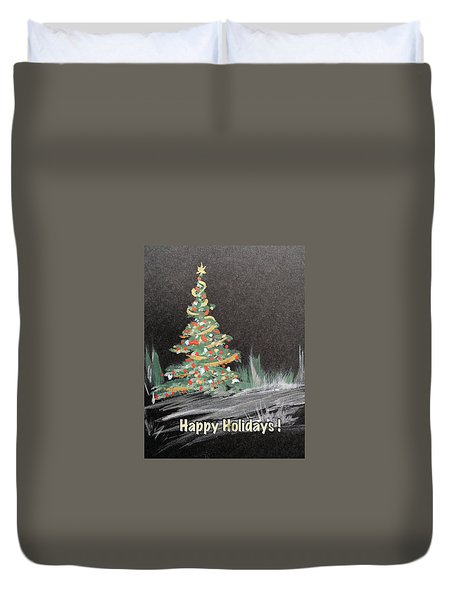 Duvet Cover featuring the painting Outdoor Christmas Tree by Dorothy Maier