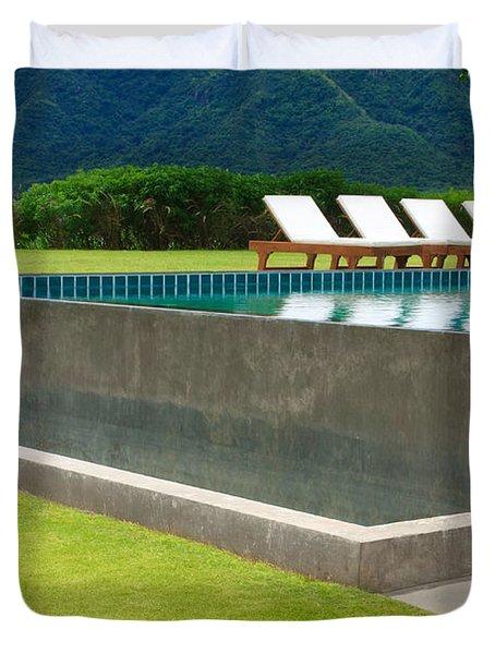 Outdoor Swimming Pool Duvet Cover by Atiketta Sangasaeng
