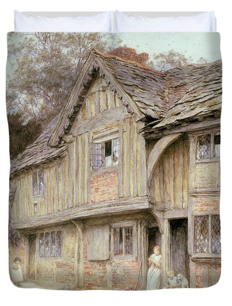 Outside A Timbered Cottage Duvet Cover by Helen Allingham