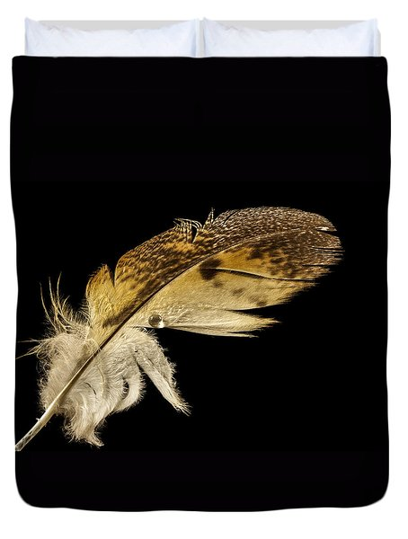 Owl Feather With Water Duvet Cover
