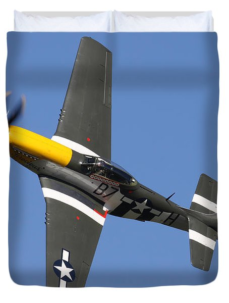 P51 Mustang Cadillac Of The Skies Duvet Cover