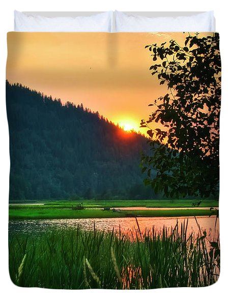 Duvet Cover featuring the photograph Pack River Delta Sunset 2 by Albert Seger