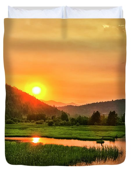 Duvet Cover featuring the photograph Pack River Delta Sunset by Albert Seger