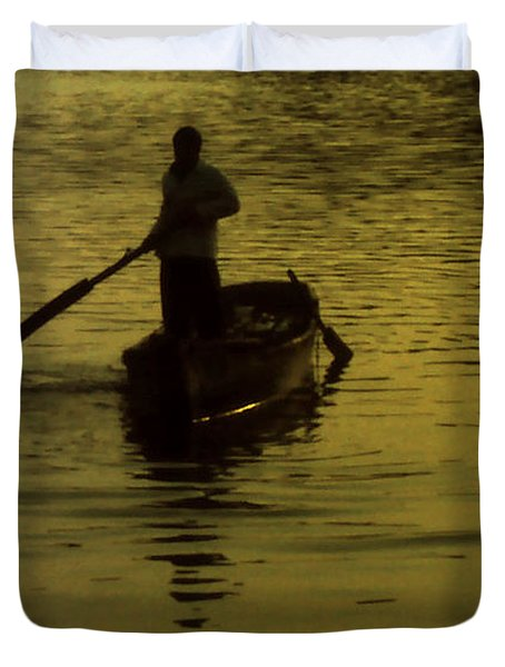 Duvet Cover featuring the photograph Paddle Boy by Lydia Holly
