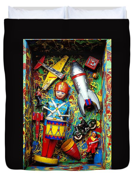Painted Box Full Of Old Toys Duvet Cover by Garry Gay