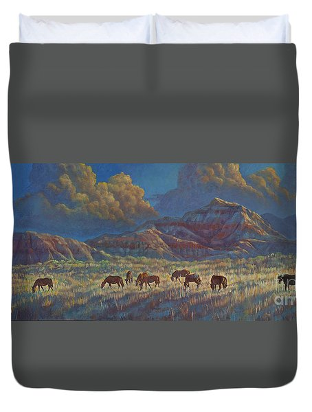 Duvet Cover featuring the painting Painted Desert Painted Horses by Rob Corsetti