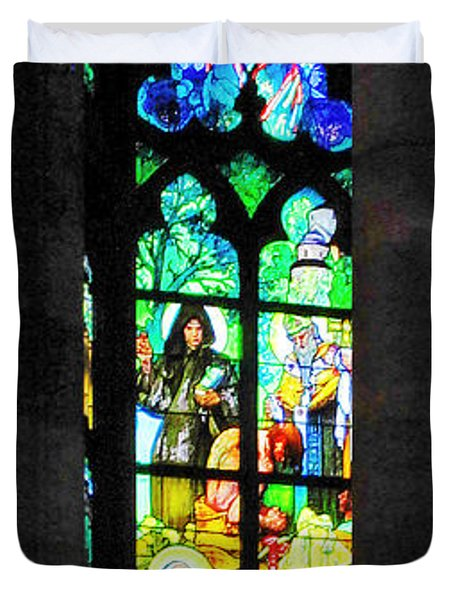 Painted Glass - Alfons Mucha  - St. Vitus Cathedral Prague Duvet Cover by Christine Till